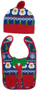 Rising Star Christmas Designed Hat and Bib Set Unisex-Baby Size 0-12 months