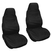 HOMPO Universal Car Van Seat Covers Black Waterproof Nylon Heavy Duty Front Seat Covers Protectors