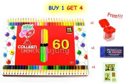 Colleen Coloured Pencils Neon 60 Colour Hezagon (2 Sides of 30 Pencils) with Special Gift Only 100 Set.