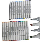 Basic 24-colour Set of Finecolour Sketch Marker Alcohol Based Ink, a Fine Point Tip and a Broad Chisel Tip, 24-piece Art Marker Set
