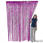 Fuchsia Foil Fringe Door & Window Curtain Party Decoration 3 X 8