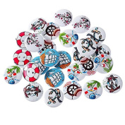 New 200PCs Mixed 2-Hole Wooden Buttons Sailing Pattern Fit Sewing Accessories Scrapbooking 20mm