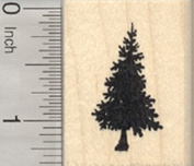 Small Christmas Tree Rubber Stamp, Pine, Fir, Evergreen