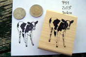 P91 Cow, calf rubber stamp
