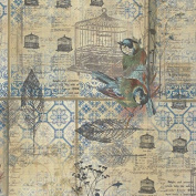 Eclectic Elements Wallflower-Tim Holtz 110cm 100% Cotton D/R-Menagerie - Blue