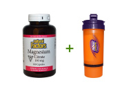 Natural Factors, Magnesium Citrate, 150 mg, 180 Capsules, Now Foods, 3 in 1 Sports Shaker Bottle, 740ml