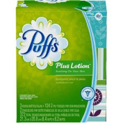 Puffs, Plus Lotion Facial Tissues, 3 Family Boxes, 124 Tissues Per Box