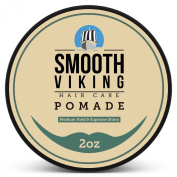 Pomade for Men - Best Hair Styling Formula for Medium Hold and High Shine - Perfect for Straight, Thick and Curly Hair - 60ml - Smooth Viking