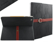 ELEGANI Black Distressed Pu Leather Case Cover with Leather Belt+buckle for Apple the New Ipad 2 & 3 & 4