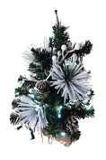 Queens of Christmas WL-TRFL18-WC-PW Flocked PVC Pine Decor, 46cm , White