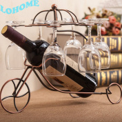 LOHOME® Wine Rack and Cup Holder, European Style Tricycle Vintage Red Wine Bottle Glasses Holder Hanging Upside Down Cup Goblets Display Rack Free Standing Rack Table Top Modern Art