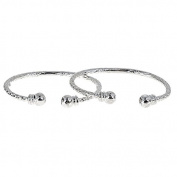 Ball w. Double Halo Ends .925 Sterling Silver West Indian Baby Bangles