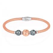Sterling Silver 925 Rose Gold Mesh D-C Beads Magnetic Bracelet 18cm - The Royal Gift