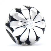 BELLA FASCINI® Daisy Flower CZ Bead Charm 925 Sterling Silver Fits Pandora, Chamilia & Compatible Brands