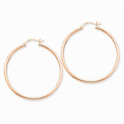 14K Rose Gold 40mm x 2mm Classic Round Hoop Earrings