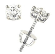 0.75 Carats Total Weight Round Diamond Stud Earrings