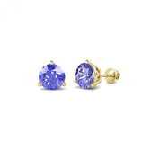 Tanzanite Three Prong Solitaire Stud Earrings 0.95 ct tw in 14K Yellow Gold