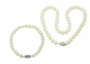 10 - 10.5mm Freshwater Cultured Pearl Necklace & Bracelet 14k Gold Clasp