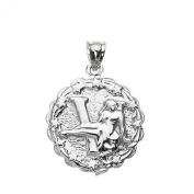 925 Sterling Silver Virgo September Zodiac Sign Round Pendant