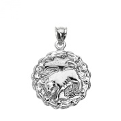 925 Sterling Silver Taurus May Zodiac Sign Round Pendant