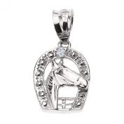 14k White Gold Lucky Diamond Horseshoe with Horse Head Pendant