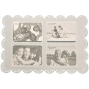 Photo Place Mat New Funky White Plastic With 4 Photo Frames 10x 15 CM SC947