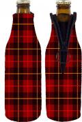 Coolie Junction Flannel Plaid Print Beer Bottle Coolie