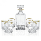 Elegant Manhattan Style Crystal Liquor Whiskey and Wine Decanter Set. Irish Cut 7 Piece Set 1 Decanter. 6 Old Fashioned High Quality 180ml DOF Glasses with 24k Gold Trim.