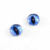 8mm Blue Cat Eyes Glass Pair Dragon Irises Crafting Supply Flatback Cabochons for Art Doll Sculptures Taxidermy or Jewellery Making