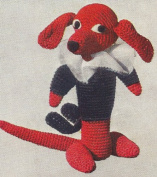 Vintage Crochet PATTERN to make - Dog Dachshund Soft Toy Animal. NOT a finished item. This is a pattern and/or instructions to make the item only.