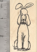 Easter Poodle Rubber Stamp, Dog in Bunny Ears