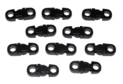 25 Small Black Breakaway Buckles for 550 Paracord and other Rope Crafts - Midwest Cord TM Brand Parachute Cord Accessories - 5mm Hole Tiny Buckles