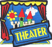 """theatre"" PATCH- Iron On Embroidered Applique/Words, Acting, Actors, Actress"