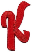 "SCRIPT LETTERS - Red Script 5.1cm Letter ""K"" - Iron On Embroidered Applique"