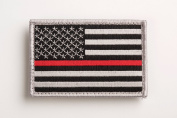 US Flag Thin Red Line hook and loop Patch for Firefighters and Paramedics