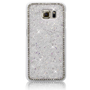 Xtra-Funky Range Samsung Galaxy S6 Crystal Rhinestone Rocks Hard Case with Sparkling Diamante Edging and Chrome Rim - White