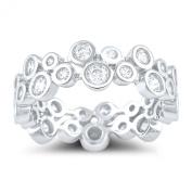 Sterling Silver Cz Double Zig Zag Eternity Ring