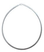 4mm Omega Necklace .925 Italian Sterling Silver Chain. 16,18,20 Inches