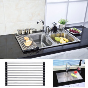 Fami(tm) Foldable Roll-up Dish Drying Rack Stainless Steel Over-the-Sink Colander Dish Drainer Tray