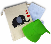 Bath Toy Organiser & *GREEN* Silicone Spout/Faucet Cover Guard Baby Gift Set in Custom Elephant Gift Bag - Perfect Gift For Girl or Boy- Protects Child's Head From Faucet.