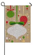 Evergreen Burlap Christmas Crackle Ornaments Garden Flag, 32cm x 46cm