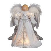 Kurt Adler 10-Light White and Silver Angel Treetop, 30cm