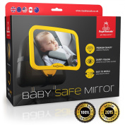 NEW RELEASE ★ Baby Car Mirror ★ WHY SAFETY YELLOW. CLICK TO SEE! ★ THE #1 safest rear view mirror for rear facing baby seat , 100% shatterproof , PREMIUM SAFETY ★ BONUS Baby on Board sign BONUS ★