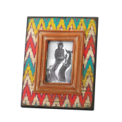Colourful Aged Style Ikat Chevron Wooden Photo Frame