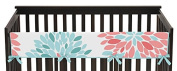 Baby Crib Long Rail Guard Cover for Modern Turquoise and Coral Emma Bedding Collection