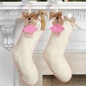 Mud Pie Tag Stocking, White Ballet Bear