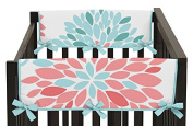 Baby Crib Side Rail Guard Covers for Modern Turquoise and Coral Emma Bedding Collection