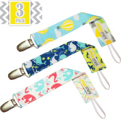 3 Pack Pacifier Clips (Whales, Elephant, Balloon) Multi-purpose Pacifier Holder for Baby Boys and Girls - Best Accessory for Teething Toys, Blankets, Soothie - Perfect Baby Shower Gift!