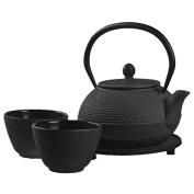 New Star International T8010 Cast Iron ARR Tea Set with Trivet, 620ml, Black