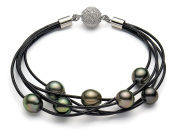 8-9mm Black Tahitian Cultured Pearl Bracelet with Leather, 7""